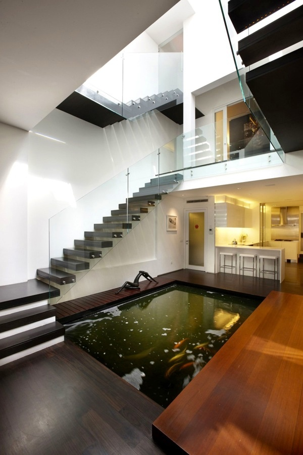 Singapore pre-war shophouse enhanced with a koi pond.