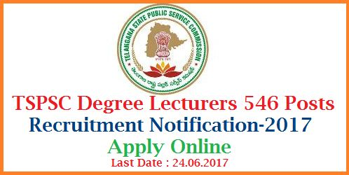 Telangana State Public Service Commission (TSPSC), Hyderabad is for the recruitment of 546 posts of Degree College Lecturer in Mahatma Jothiba Phule Telangana Backward Classes Welfare Residential Degree Colleges (Women) and Telangana Social Welfare Residential Degree Colleges (Women). TSPSC Telangana Degree College Lecturer Vacancy 2017 under Advt no – 22/2017.