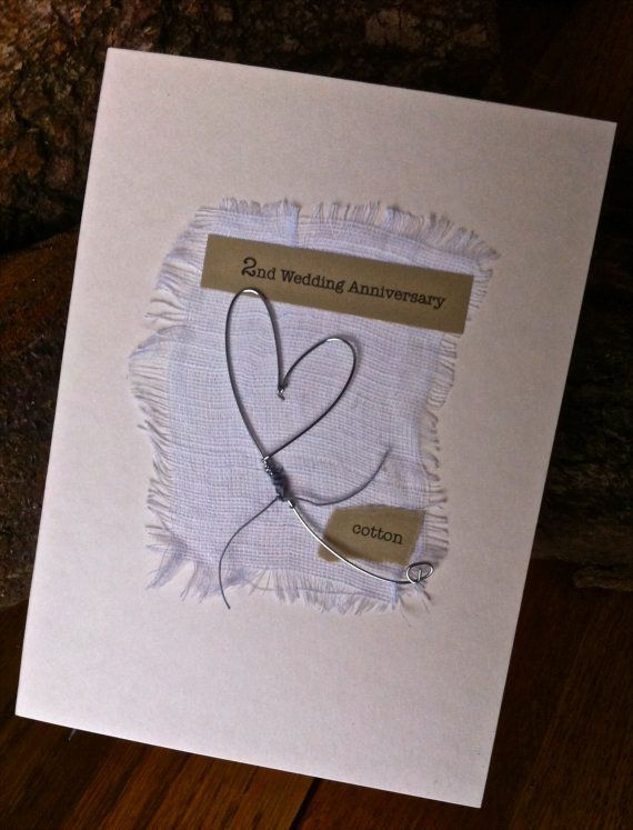 2nd Wedding Anniversary Keepsake Card Cotton Handmade Traditional ...