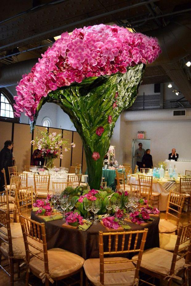 Small Wedding Nyc Fl Design Orchids Cascading From More Than 7 Feet High Smartvaforu