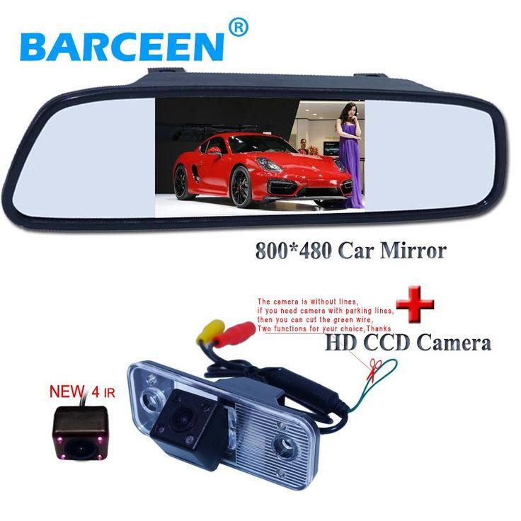 4.3 inch Car Rearview Mirror Monitor Rear View Camera CCD Video IR Night Vision Reversing For Hyundai SANTA FE Santafe 06-10
