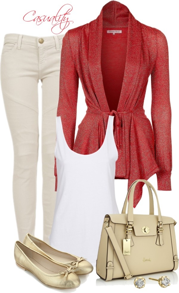 """Metallic Leather Flats & Neutral Shoulder Bag"" by casuality on Polyvore"