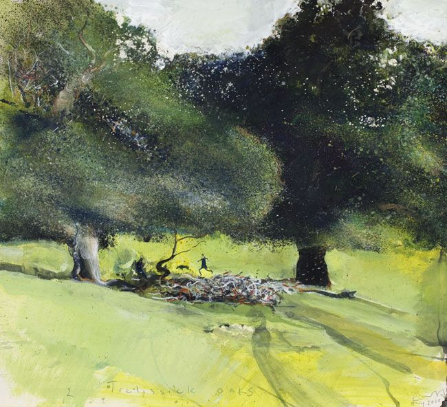 Light, shade, movement, humour, I love this painting by Kurt Jackson of two oak trees.