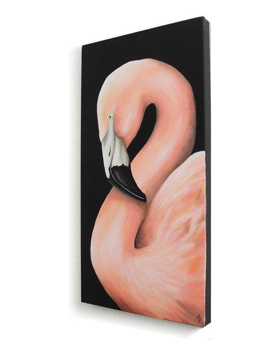 Pink Flamingo uccello tropicale pittura - tela arte parete Fenicottero cileno - - piuttosto in rosa arte - pittura - arte dell
