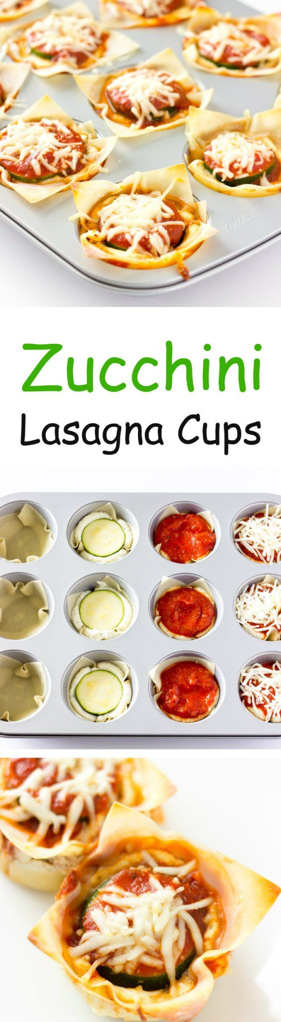 Zucchini Lasagna Cups - Quick, easy, mini #vegetarian lasagna cups made using wonton wrappers and a muffin tin.
