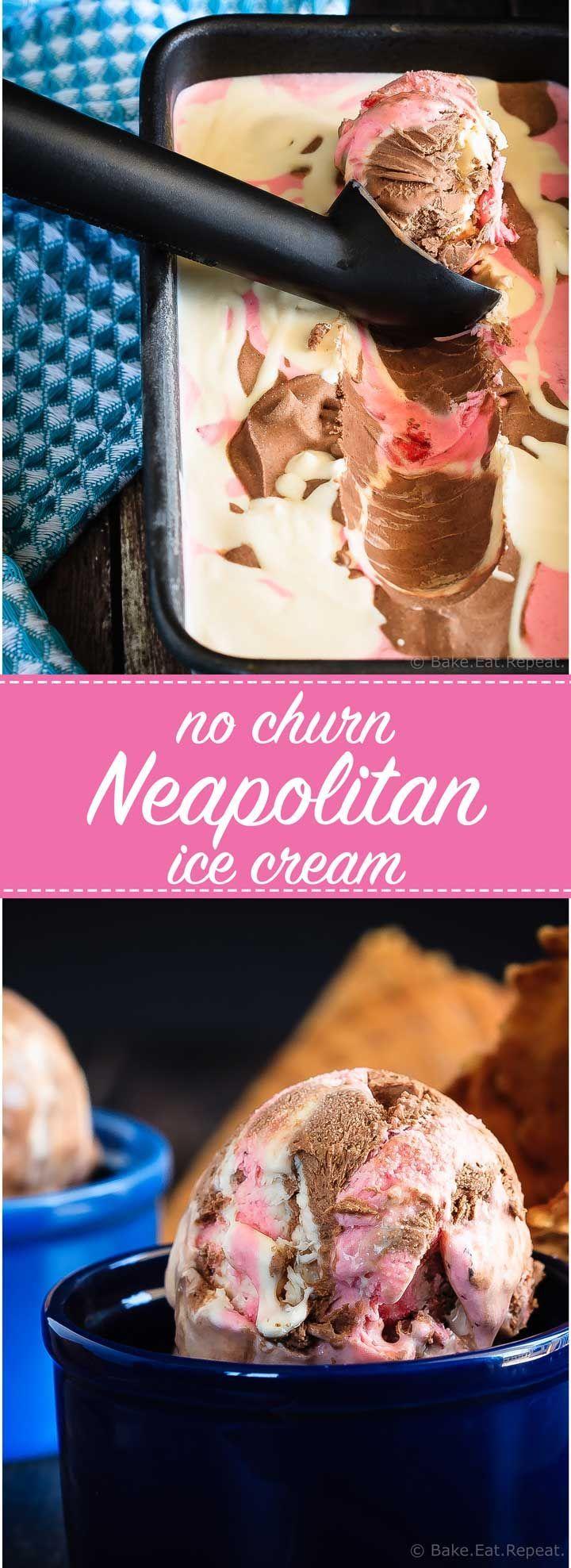 No Churn Neapolitan Ice Cream - Easy, no churn Neapolitan ice cream - made with Eagle Brand Sweetened Condensed Milk, this mix of vanilla, chocolate and strawberry ice cream is perfectly creamy!