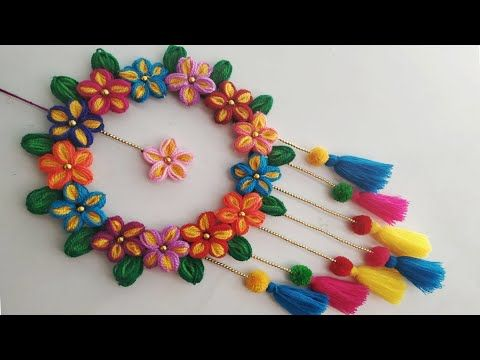 Diy Wall Hanging Out Of Wool Wool Flower Making Home Decoration