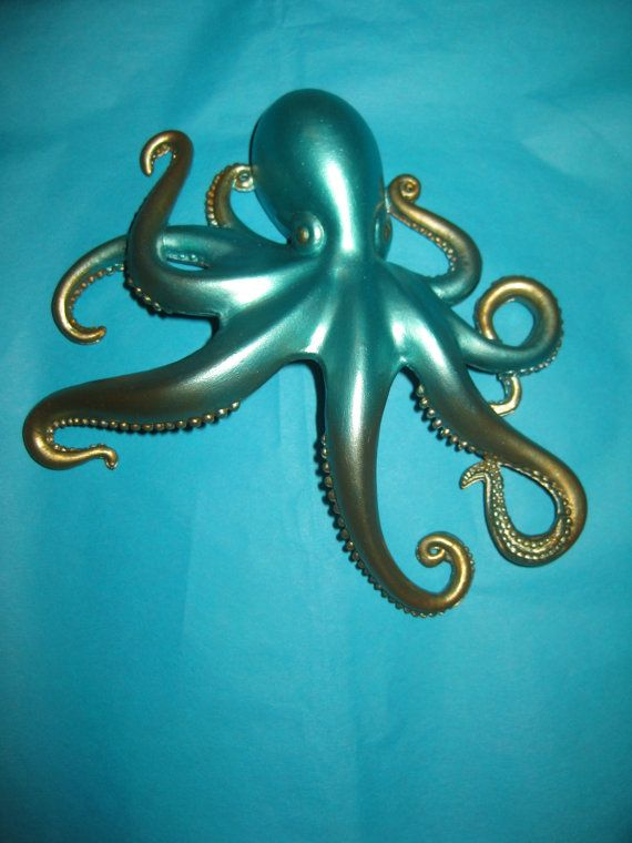 Steampunk Octopus Ombre Aqua and Gold Octopus Hair Clip Steampunk  Cthulhu Mermaid Hair accessory Fantasy Brooch