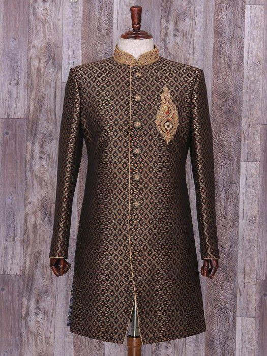 Black Hue Silk Wedding Wear Indo Western, black color, wedding, mens fashion, groom, indo western