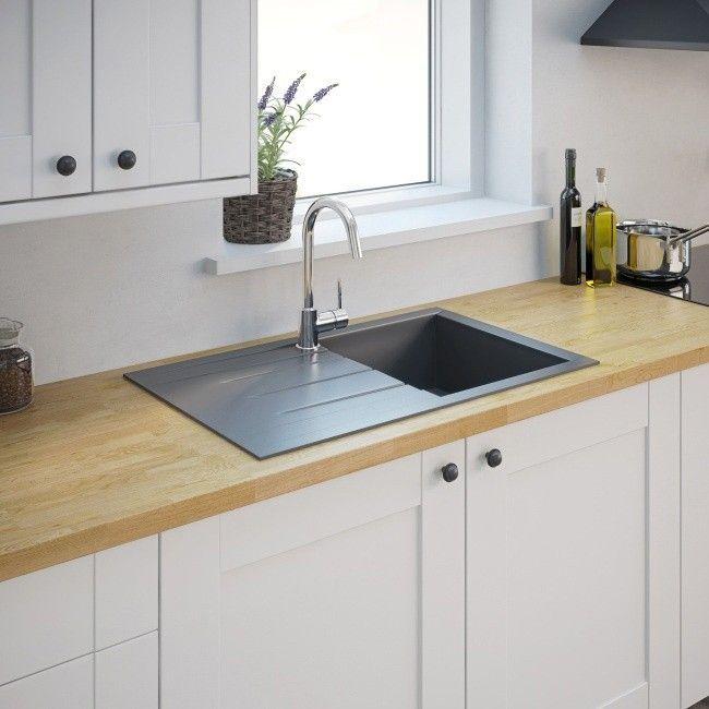 Zlewozmywak Kompozytowy Ising 1 Komorowy Z Ociekaczem Szary Granitowe Bowl Sink Composite Kitchen Sinks Sink Drainer