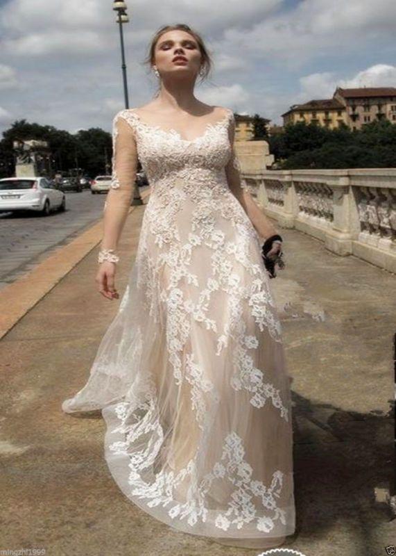 Backless Champanhe laço vestido de noiva de vestido de casamento Tamanho Personalizado 4 6 8 10 12 14 16 +