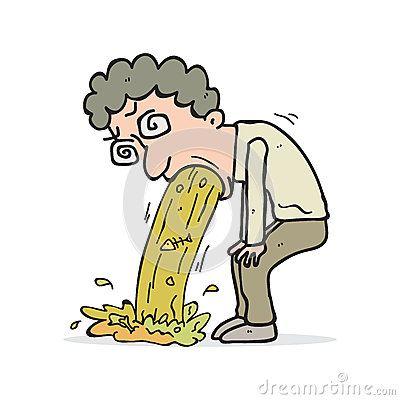 Illustration cartoon vomiting man cartoon