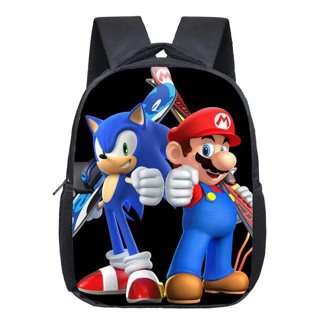 e48600f4f2 13 Inch Cartoon Super Mario Bros Kids Backpack Kindergarten School Bag  Children Printing Backpack Girls Boys Mochila