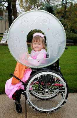 Two hula hoops + plastic + glitter + lots of love = wheelchair Halloween costume made for a princess! Not sure we can do this for every Halloween costume, but it sure was fun. :)