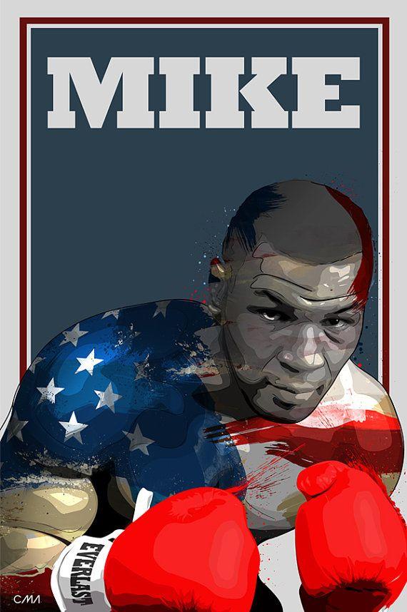 Mike Tyson jet dencre Art Print  A3 Portrait par CiaranMonaghanArt