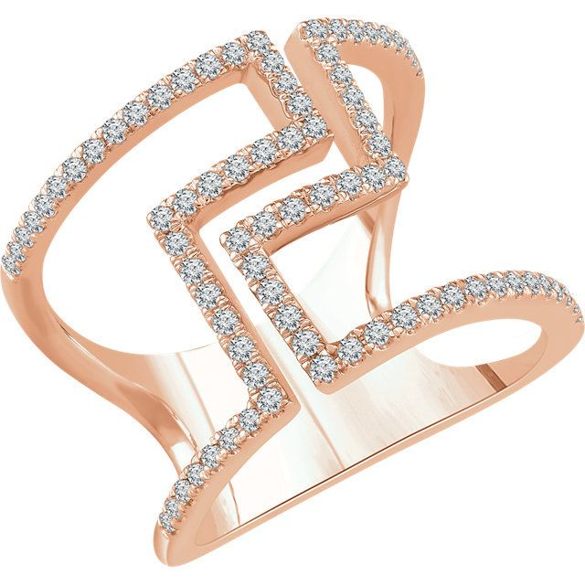 0.50 Ct Tw Diamond Geometric Ring for a fun fashion ring. Rose gold