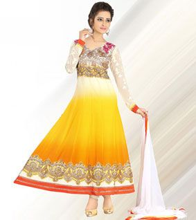 Yellow & White Embroidered Faux Georgette Semi Stitched Anarkali Suit