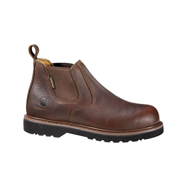 """Men's Carhartt CMS4200 4"""" Safety Toe Romeo Boot Casual ($110) ❤ liked on Polyvore featuring men's fashion, men's shoes, men's boots, men's work boots, brown, casual, safety shoes, mens slip on boots, mens brown work boots and mens boots"""