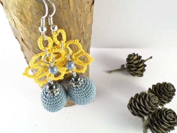 Handmade Crochet Tatting Earrings Yellow Earrings by SandyCraftUK