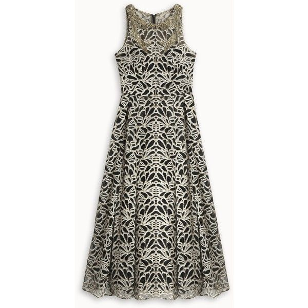 MARCHESA NOTTE Embroided Tea Dress ($1,532) ❤ liked on Polyvore featuring dresses, embroidery dress, white tea-length dresses, metallic dress, tea dress and zip back dress