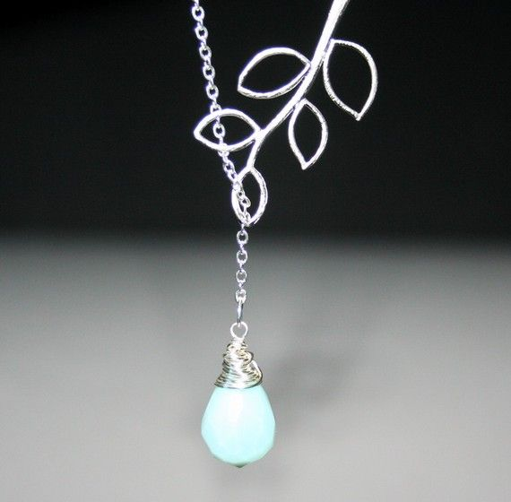 Silver Leaf Branch with Stone Necklace  Lariat by smilesophie, $17.00