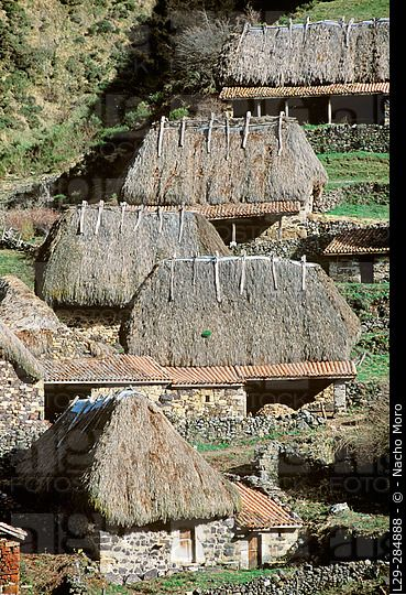 Teitos (typical dwellings). Braña de la Pornacal. Somiedo Natural Park and Biosphere Reserve. Asturias. Spain