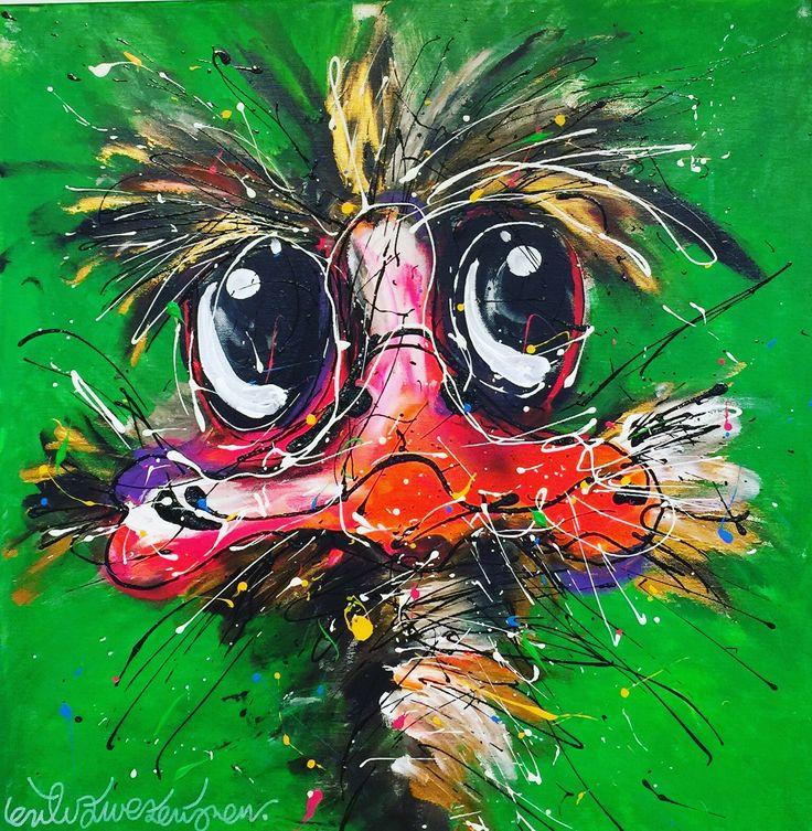 """Wasn't me"" 60 x 60 cm / 23 x 23"" this vibrant not guilty guy visits the gallery! #art #newyork #zwierigfiguratief #ostrich #ostrichfarm #picoftheday #wasntme #groningen www.erikzwezerijnen.com"