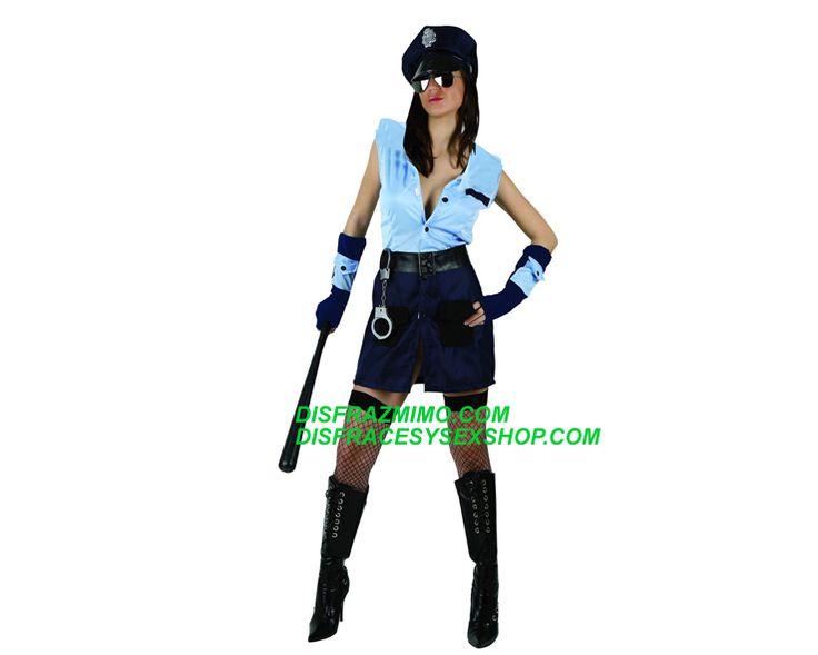 DisfracesySexshop - ats 95426: disfraz policia mujer t.xl.incluye vestido, muñequeras, gorra. disfraz de uniforme o profesion de trabajo y deporte.disfraces de presos y policias adultos.