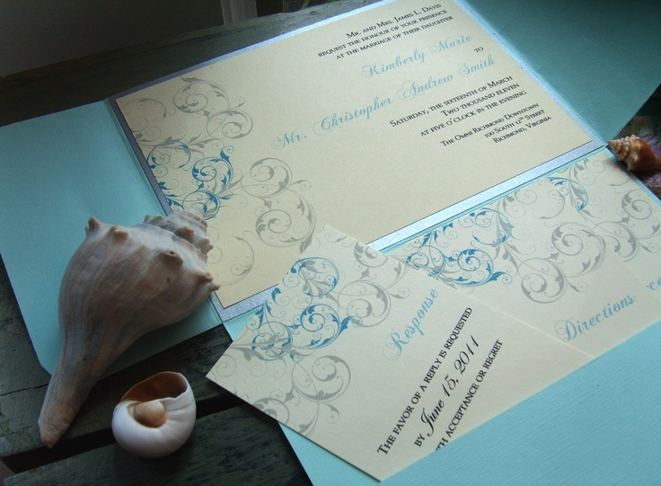 light aqua and silver pocket wedding invitation with cards from www.rubiesandpearlsllc.com/rubyspearlsprinting.html