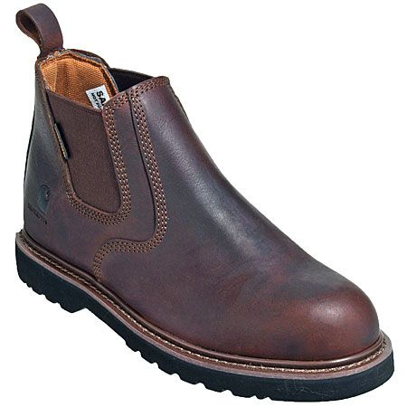Carhartt Boots Men's 4-Inch Brown Laceless Non-Slip Work Boots CMS4100