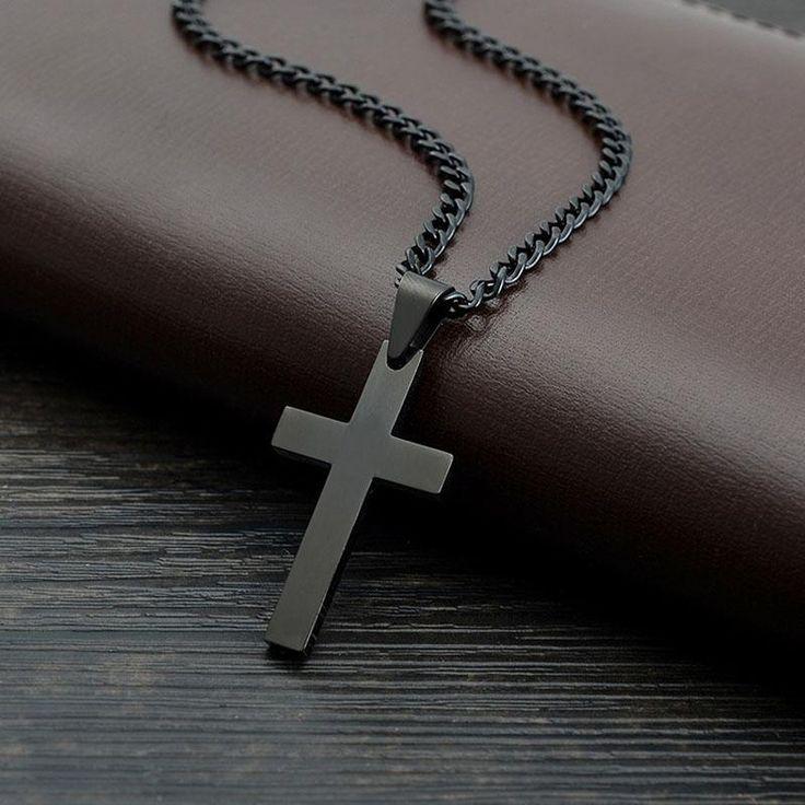 Wallmart.win Black Plated Jesus Cross Necklaces & Pendants For Women Gifts Collier Femme 2016 Fshion Stainless Steel Jewelry Cruz Colgante