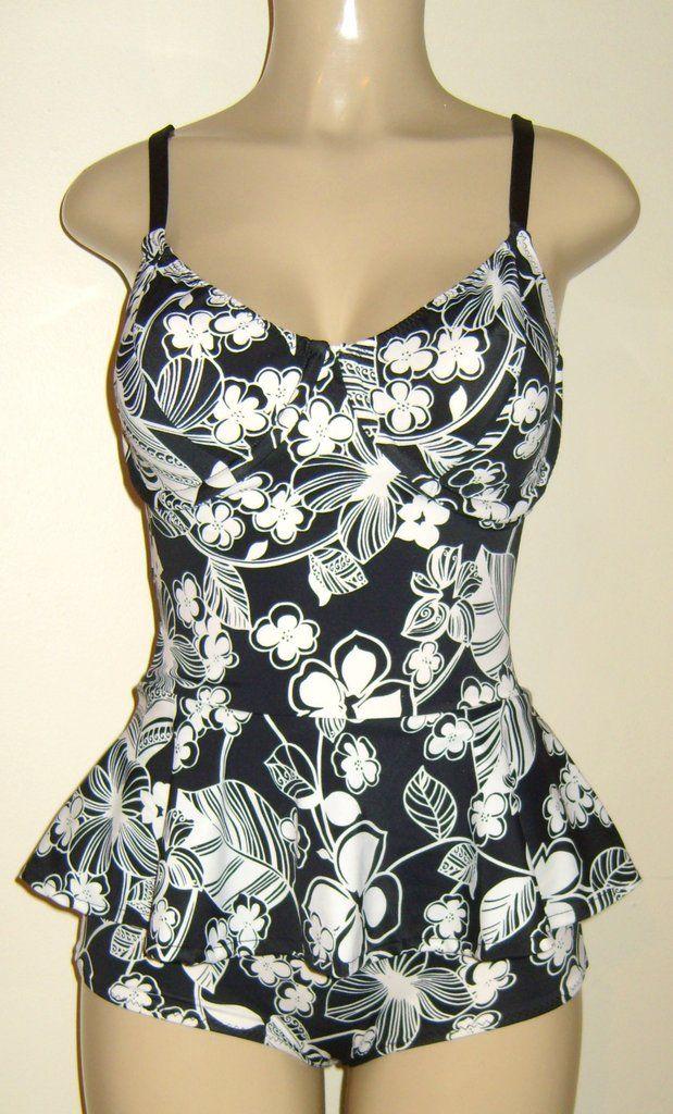 deea05edd51 Peplum skirt one piece swimsuit