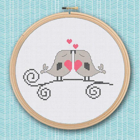 Love Birds Cross Stitch Pattern / Digital file by RivkasRenditions