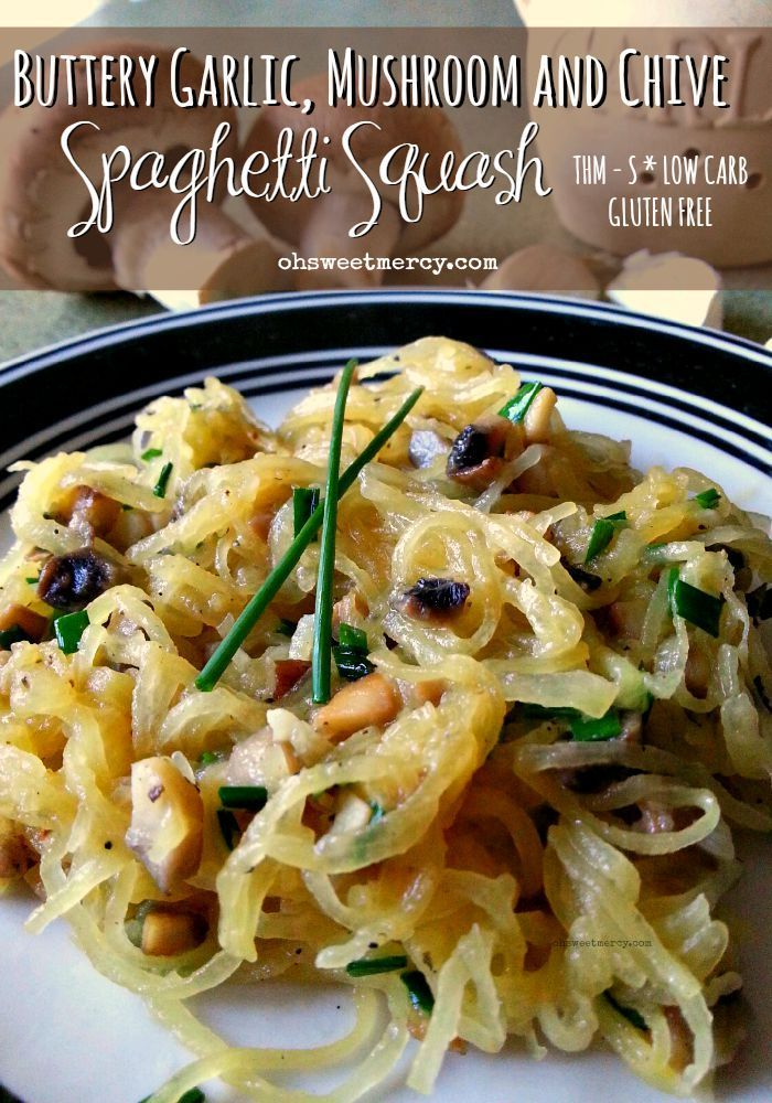 Trim Healthy Mamas, spaghetti squash is a Fuel Pull veggie! That means you can load up on this easy, delicious Buttery Garlic, Mushroom and Chive S-version!