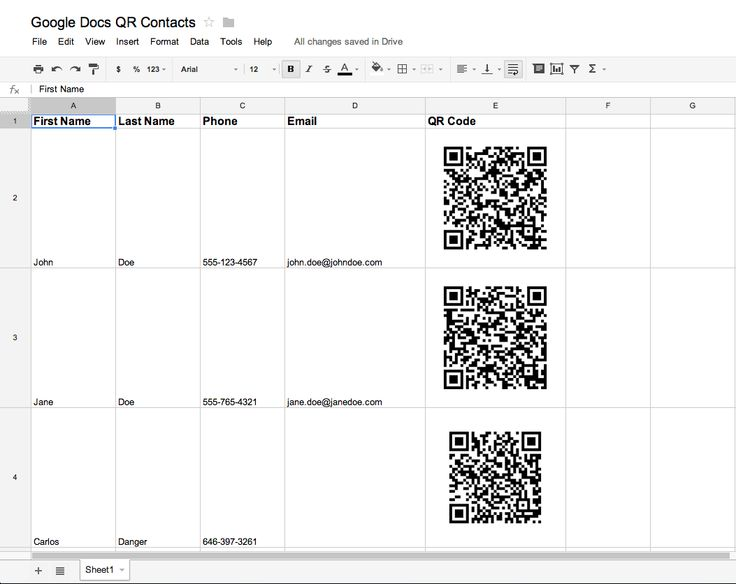 Making QR Codes in Google Docs