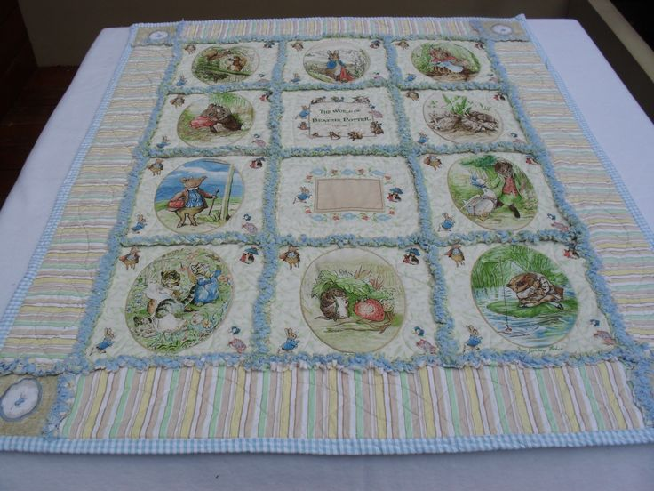 Beatrix Potter rag quilt for a very special baby boy. I was able to embroider a name in the ...