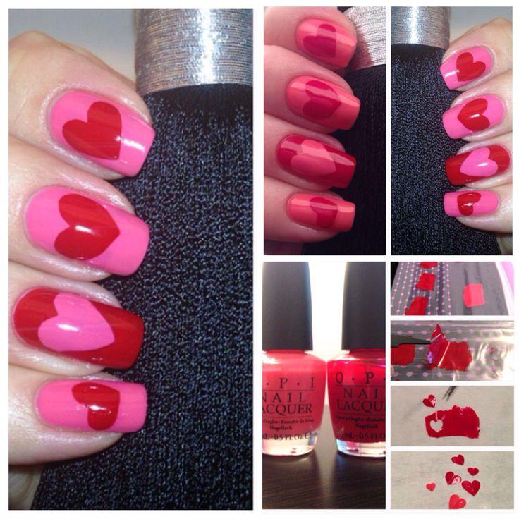 En gammal manikyr som känns passande nu när Alla Hjärtans Dag är om en vecka. Här använde jag Ziploc bag metoden och klippte ut hjärtana med en liten sax. Lacken är Opi - Big apple red & Elephantastic pink.