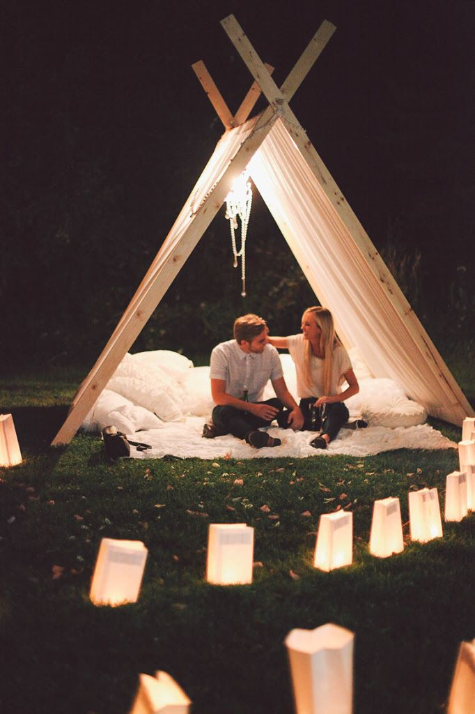 Marriage Proposal Ideas from HowHeAsked Beautiful Teepee Proposal