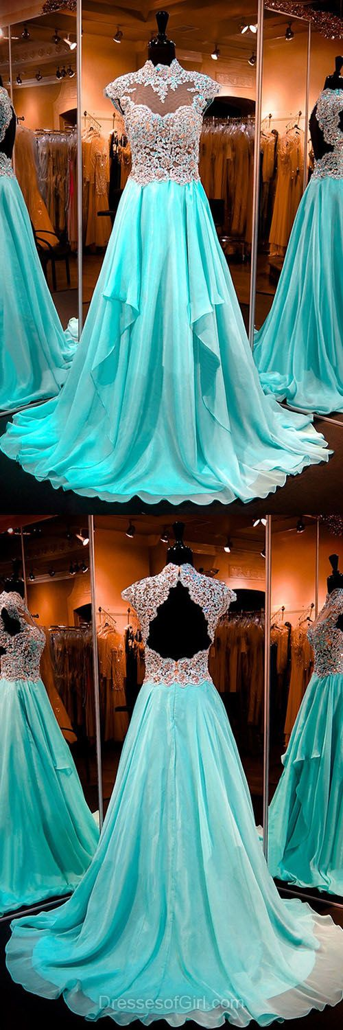Elegant Chiffon Formal Dresses, Beading Open Back Evening Dresses, High Neck Blue Prom Dresses, Fashion Party Gowns