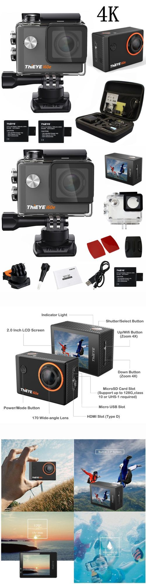 Underwater Cameras 180000: Thieye I60e 4K Action Camera Sport Fhd 60M Waterproof Wifi Helmet Cam Dv + Bag -> BUY IT NOW ONLY: $62.69 on eBay!