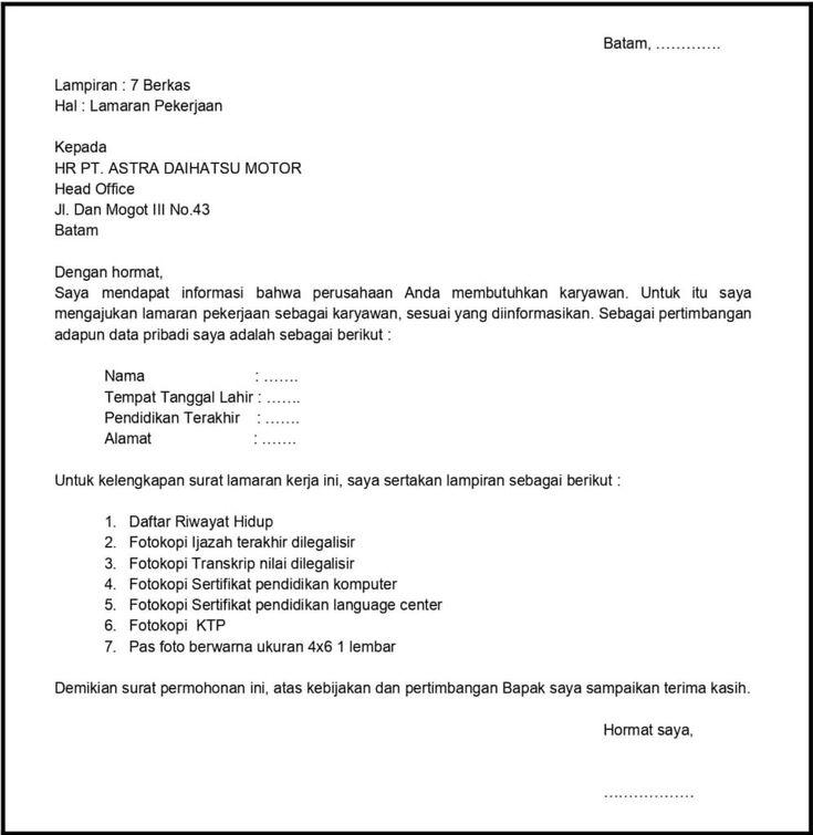 Contoh Surat Lamaran Pekerjaan Quality Control Download Kumpulan Gambar