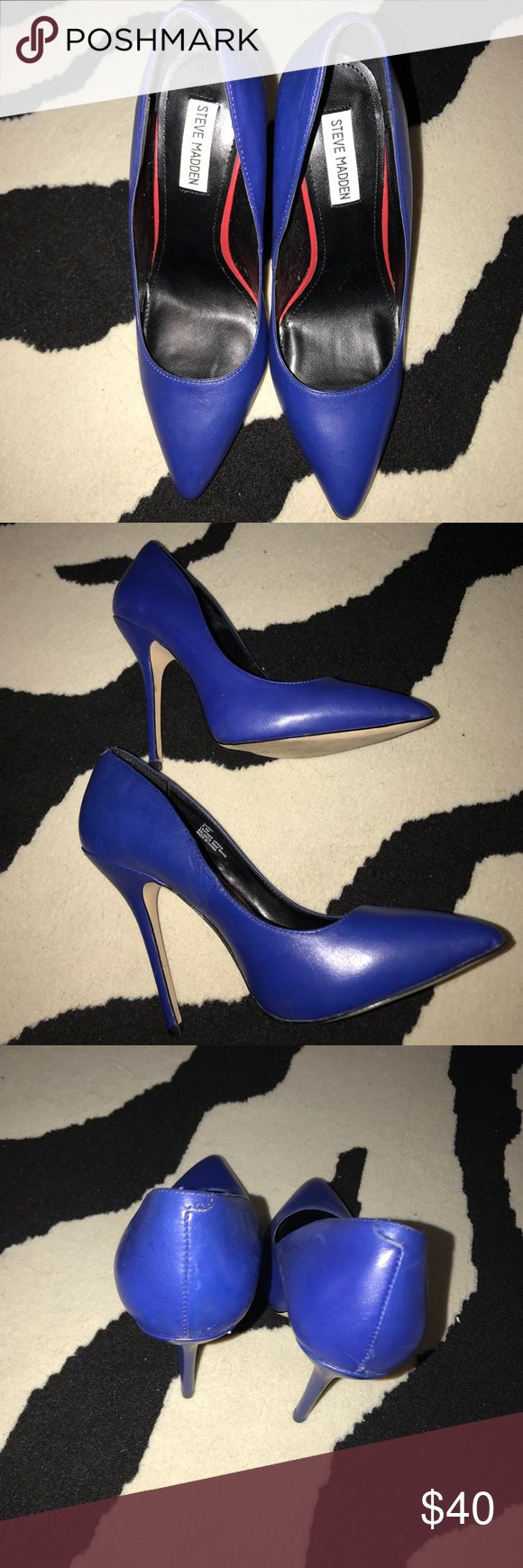 Sexy Steve Madden Royal Blue Pump Size 9.5 Sexy Steve Madden Royal Blue Pump Size 9.5 Worn Twice. Sexy, Comfortable Heel for dress or jeans. Heel height is 4.5. Great condition. Steve Madden Shoes Heels