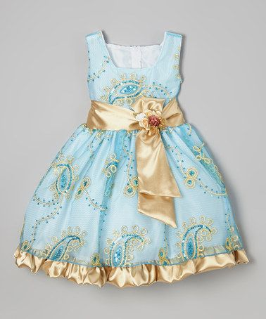 Another great find on #zulily! Blue & Gold Paisley Sequin Dress - Infant, Toddler & Girls by Kid Fashion #zulilyfinds