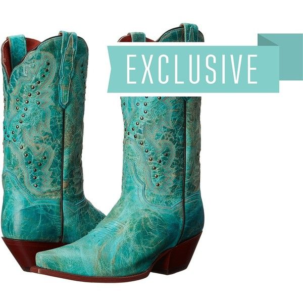 Dan Post Capri (Distressed Turquoise) Cowboy Boots ($230) ❤ liked on Polyvore featuring shoes, boots, mid-calf boots, turquoise western boots, western boots, cowgirl boots and distressed cowboy boots