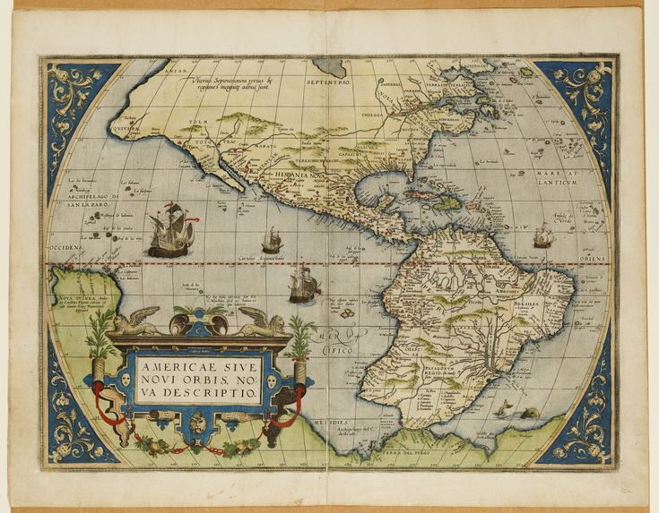 Handcoloured map of the Americas by Abraham Ortelius, 1579, featured in our 'European Visions of Antarctica' Out of the Vaults event