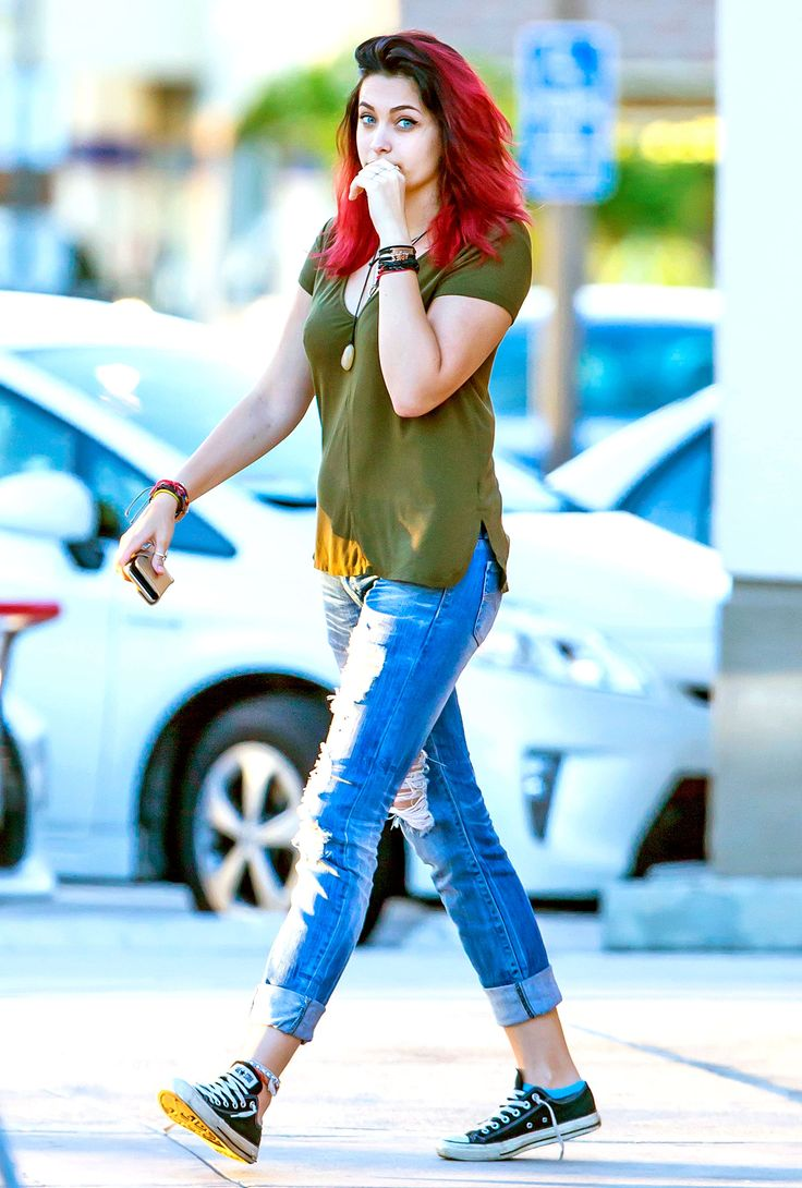 Paris Jackson with red hair in Calabasas, CA on September 27, 2015.