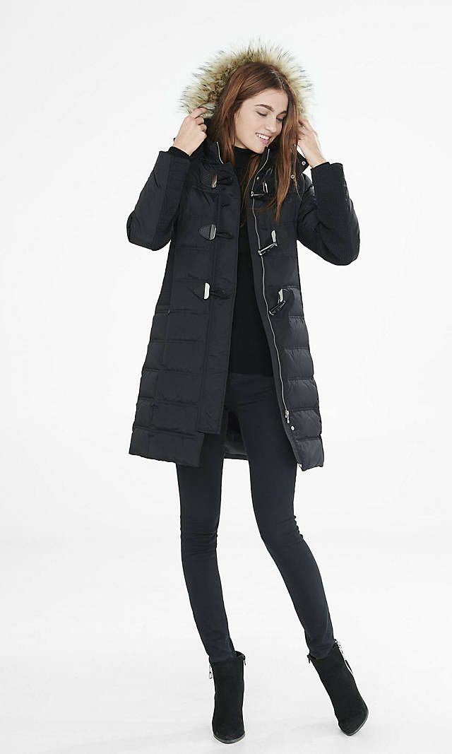 I love this whole look - warm coat, leggings, booties! Long Down Filled Toggle Puffer Coat | Express