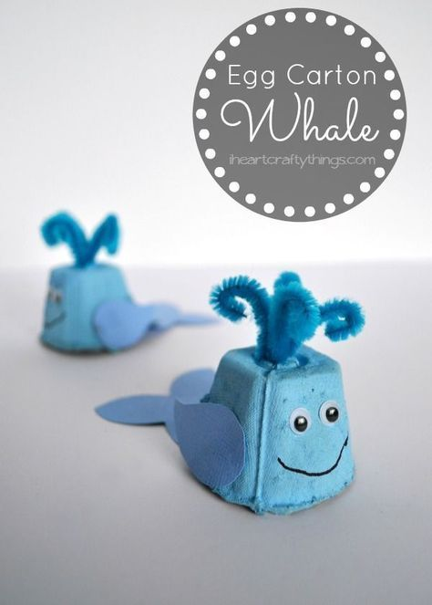 Make a cute Whale Kids Craft out of an egg carton. Fun craft for kids and a way to re-purpose an egg carton. from iheartcraftything...
