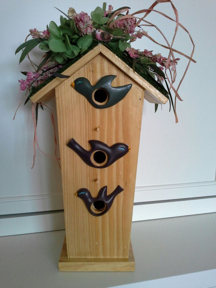 Three Bird Wooden Birdhouse With A Moss Roof, Pink Larkspur, Green  Hydrangea And Eucalyptus
