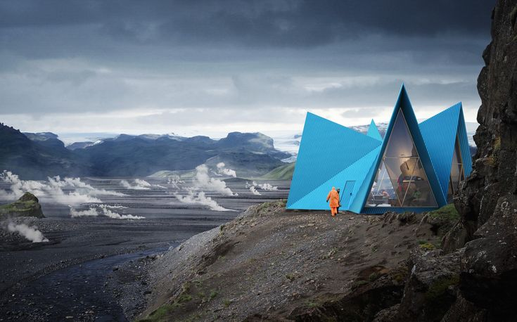 Striking Easily Assembled Cabins Will become Symbols for Shelter and Safety Along Remote Trekking Paths  | ArchDaily